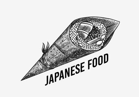 Japanese food. Sushi bar or temaki roll. Vector illustration for Asian restaurant. Hand Drawn engraved sketch for menu. Monochrome style. Vector illustrations 向量圖像