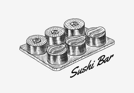 Japanese food. Sushi bar or rolls set. Vector illustration for Asian restaurant. Hand Drawn engraved sketch for menu. Monochrome style. Vector illustrations 向量圖像