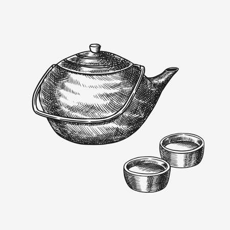 Japanese tea party. Teapot and traditional bowls. Hand Drawn engraved sketch for menu. Monochrome style. Vector illustrations