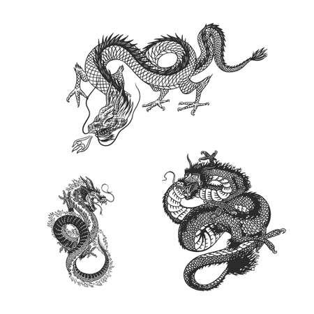 Japanese dragon. Mythological animal or Asian traditional reptile. Symbol for tattoo or label. Engraved hand drawn line art Vintage old monochrome sketch, ink. Vector illustration.