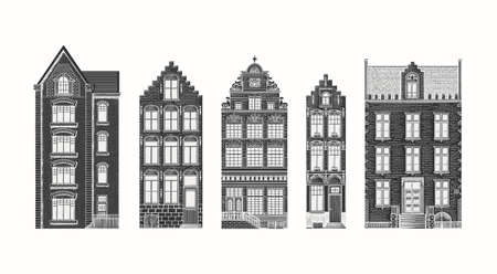 Amsterdam houses. Urban residential buildings. Scandinavian style. European city. Hand drawn monochrome doodle vector illustration Vettoriali