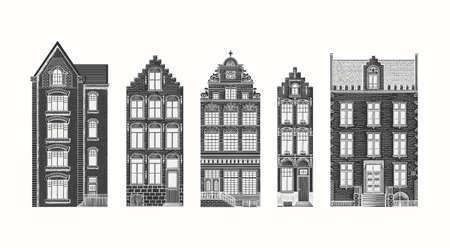 Amsterdam houses. Urban residential buildings. Scandinavian style. European city. Hand drawn monochrome doodle vector illustration Ilustração Vetorial