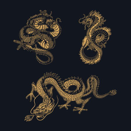 Japanese dragon. Mythological animal or Asian traditional reptile. Symbol for tattoo or label. Engraved hand drawn line art Vintage old monochrome sketch, ink. Vector illustration. Vektoros illusztráció