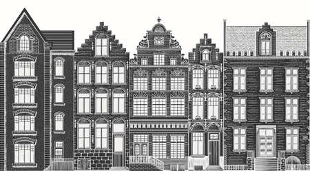 Amsterdam houses. Urban residential buildings. Scandinavian style. European city. Hand drawn monochrome doodle vector illustration Çizim