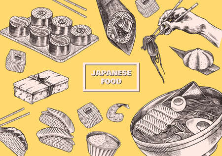 Japanese food poster. Sushi bar, ramen noodles, soup in a bowl, roll and dessert, Asian tea. Soy sauce. Hand holds chopsticks. Drawn engraved sketch for menu. Monochrome style. Vector illustration