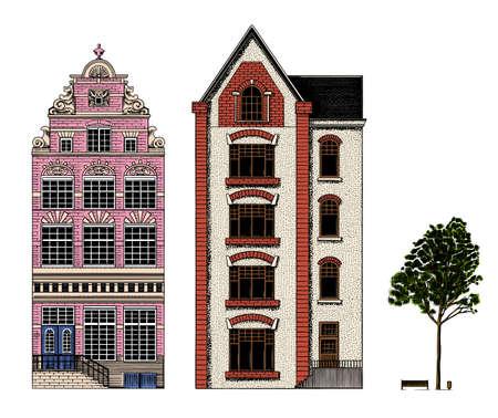 Amsterdam houses. Urban residential buildings. Scandinavian style. European city. Hand drawn monochrome doodle vector illustration