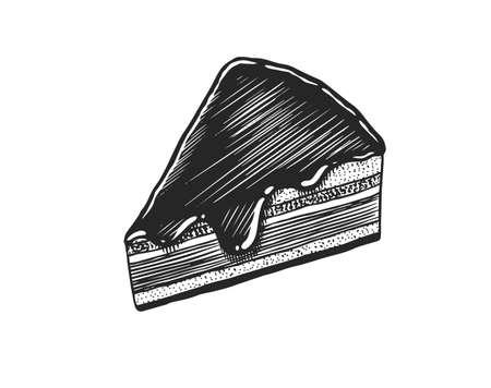 Chocolate fondant cake. Fruit dessert or tart. Hand drawn bakery product. Celebratory Sweet Food. Vintage engraved sketch. Vector illustration for a banner or menu of a cafe and restaurant.