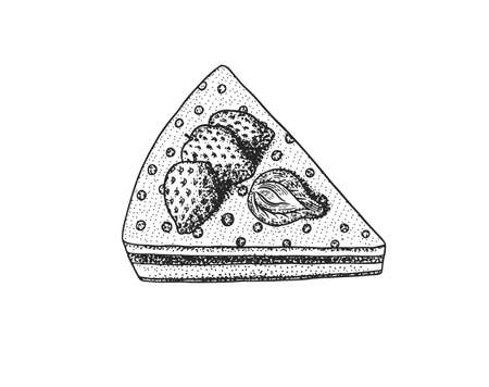 Birthday cake with berries and strawberries. Fruit dessert or tart. Hand drawn bakery product. Top view. Vintage engraved sketch. Vector illustration for a banner or menu of a cafe and restaurant.
