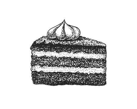 Birthday cake cutaway. Piece of Fruit dessert or tart. Hand drawn bakery product. Celebratory Sweet Food. Vintage engraved sketch. Vector illustration for a banner or menu of a cafe and restaurant.