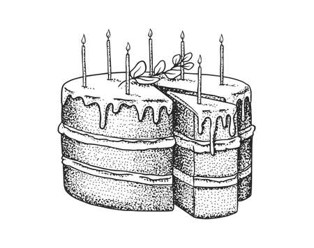 Birthday cake with candles. Fruit dessert or tart. Hand drawn bakery product. Celebratory Sweet Food. Vintage engraved sketch. Vector illustration for a banner or menu of a cafe and restaurant.