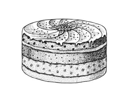 Birthday cake. Layered Fruit dessert or tart. Hand drawn bakery product. Celebratory Sweet Food. Vintage engraved sketch. Vector illustration for a banner or menu of a cafe and restaurant.