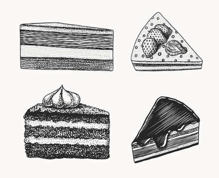 Birthday cake. Fruit dessert or tart. Hand drawn bakery product. Celebratory Sweet Food. Vintage engraved sketch. Vector illustration for a banner or menu of a cafe and restaurant. Illusztráció