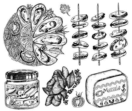 Sea mussels in vintage retro style. Nautical molluscs. Ocean food. Vector illustration. Hand drawn engraved retro sketch. Antique old monochrome style.