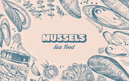 Sea mussels. Poster or banner in vintage retro style. Nautical molluscs. Ocean food background. Vector illustration. Hand drawn engraved retro sketch. Antique old monochrome style.