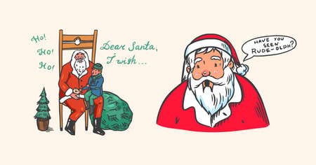 Santa Claus. Bearded grandfather with a child. The boy makes a wish. Christmas symbol. Poster or banner for the holiday. Vector illustration for label, postcard. Hand drawn vintage doodle sketch.