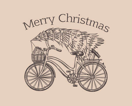 Bicycle with a Christmas tree. Spruce in the luggage of the bike. Delivery concept. Ilustracja
