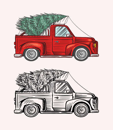 Car with a Christmas tree. Spruce in the luggage of the truck. Delivery concept. Ilustracja