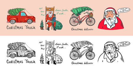 Car and Bicycle with a Christmas tree. Spruce iand wreath. Santa Claus. Bearded grandfather with a child. Vector illustration for label, postcard or banner. Hand drawn Vintage engraved sketch.
