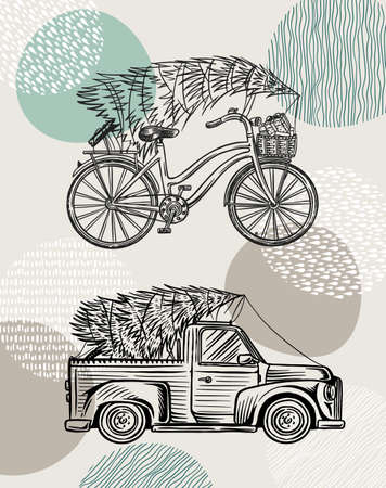 Car and Bicycle with a Christmas tree. Spruce in the luggage of the truck. Delivery concept.