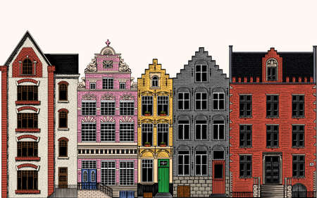 Amsterdam houses. Urban residential buildings. Scandinavian style. European city. Hand drawn monochrome doodle vector illustration Ilustracja