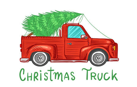 Car with a Christmas tree. Spruce in the luggage of the truck. Delivery concept. Vector illustration for label, badge, logo, postcard or banner. Hand drawn Vintage engraved sketch.