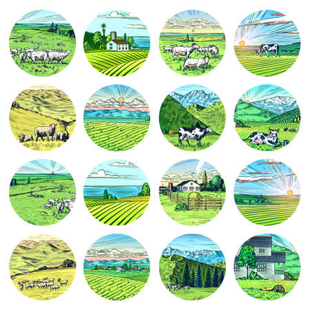Rural meadow stickers. A village landscape with cows, goats and lamb, hills and a farm. Sunny scenic country view. Hand drawn engraved sketch. Vintage rustic logo for wooden sign or badge or label.