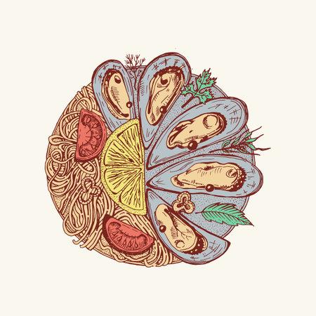 Sea mussels in vintage retro style. Nautical molluscs. Ocean food. Vector illustration. Hand drawn engraved retro sketch.
