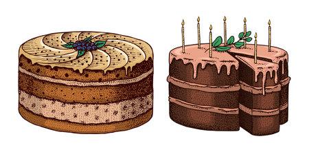 Birthday cake. Fruit dessert or tart. Hand drawn bakery product. Celebratory Sweet Food. Vintage engraved sketch. Vector illustration for a banner or menu of a cafe and restaurant.