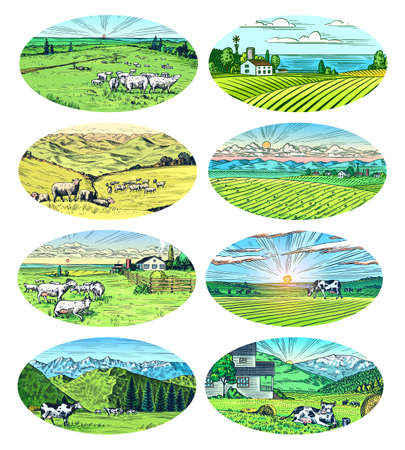 Rural meadow set. A village landscape with cows, goats and lamb, hills and a farm. Sunny scenic country view. Hand drawn engraved sketch. Vintage rustic banner for wooden sign or badge or label.