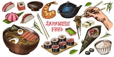 Japanese food set. Sushi bar, ramen noodles, soup in a bowl, roll and dessert, Asian tea. Soy sauce. Hand holds chopsticks. Drawn engraved sketch. Monochrome doodle style. Vector illustration