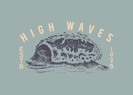 Atlantic tidal waves. Vintage old engraved hand drawn label. Marine and nautical or sea, ocean in Japanese style for banner, background or poster. Isolated vector illustration.