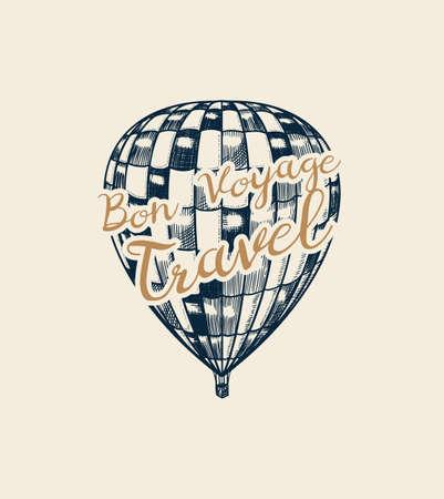 Vintage Hot Air Balloon badge. Vector retro flying airship with decorative element. Ilustração