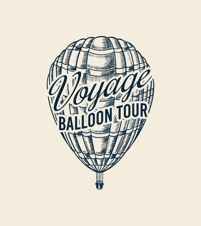 Vintage Hot Air Balloon badge. Vector retro flying airship with decorative element. Template transport for Romantic