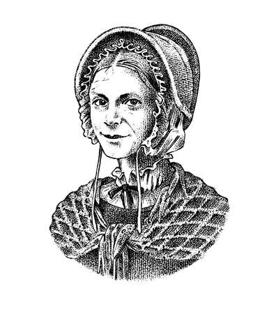 Old woman in a vintage suit. A poor peasant in a hat and a scarf. Victorian era character, antique style. Engraved sketch