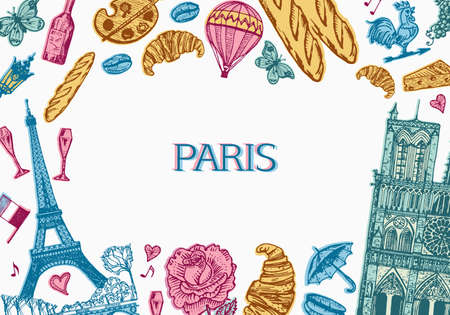 Paris background in vintage retro style. France poster or banner, eiffel tower and buildings. Retro doodle elements. Hand drawn engraved retro sketch. Antique old monochrome style.
