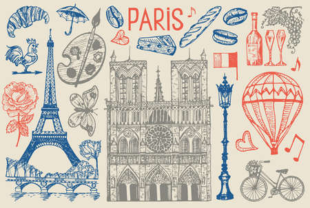 Paris set in vintage retro style. France, eiffel tower and buildings. Retro doodle elements. Vector illustration. Hand drawn engraved retro sketch. Antique old monochrome style.