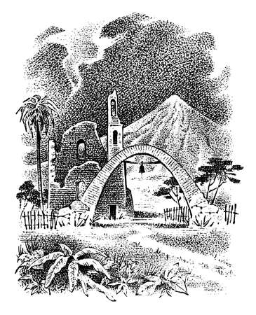 Ruined Mexican city with church landscape. Palm trees and mountains in the background. Arch with a bell.