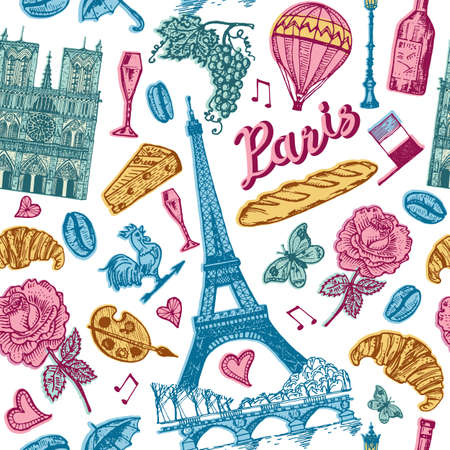 Paris seamless pattern in vintage retro style. France, eiffel tower and buildings. Retro doodle elements. Vector illustration. Hand drawn engraved retro sketch. Monochrome poster or banner.
