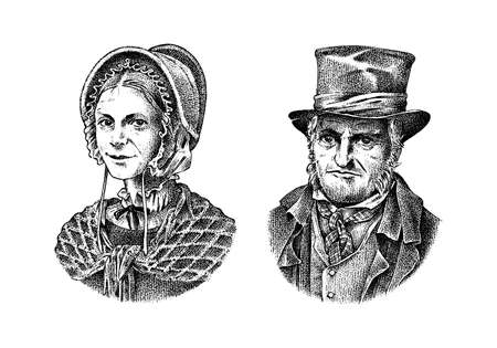 Old man and woman in a vintage suit. Poor peasant in a hat. Victorian era character, antique style. Engraved sketch.