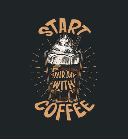 Coffee shop emblem. Cup of drink. Vintage retro badges set. Hand Drawn engraved sketch. Templates for t-shirts, typography or signboards.