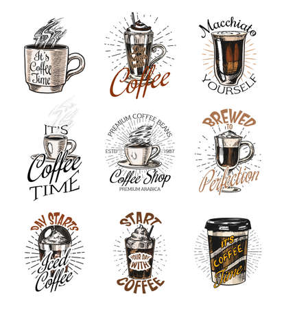 Coffee shop  emblems set. Cup of drink. Vintage retro badges set. Hand Drawn engraved sketch. Templates for t-shirts, typography or signboards.