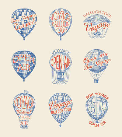 Vintage Hot Air Balloon badges set. Vector retro flying airship with decorative element. Template transport. Hand drawn Engraved sketch for poster or banner.