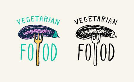 Eggplant vegetable on a fork logo. Vegetarian concept. Organic Vegan label. Farm element. Badge for for sticker or t-shirt or menu in a restaurant. Engraved hand drawn sketch. Illustration