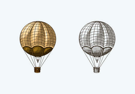 Vintage Hot Air Balloon. Vector retro flying airship with decorative elements. Template transport for Romantic. Hand drawn Engraved sketch.
