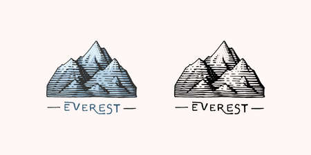 Mountain peaks emblem. Engraved vintage, hand drawn, old, label or badges for camping, hikin, from south to north.