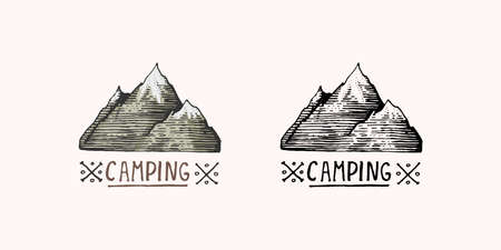Mountain peaks emblem. Engraved vintage, hand drawn, old, label or badges for camping, hiking,  from south to north.