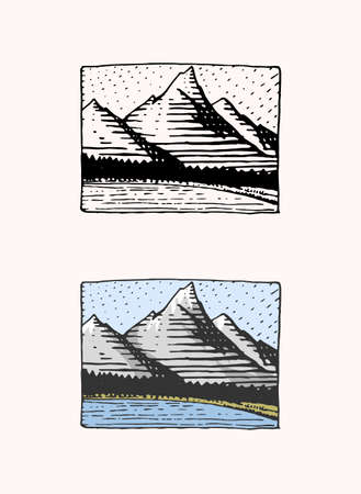Mountain peaks emblem. Engraved vintage, hand drawn, old, label or badges for camping, hiking  from south to north.
