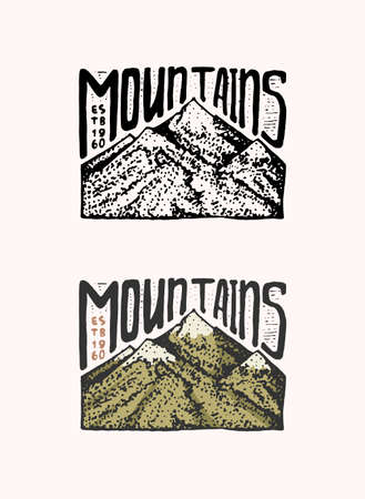 Mountain peaks emblem. Engraved vintage, hand drawn, old, label or badges for camping, hiking from south to north. Reklamní fotografie - 167127537