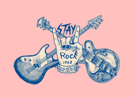 Guitar and hand for jazz festival. Drawn grunge sketch with a tattoo or t-shirt or woodcut. Rock concept. Vintage Vector illustration for poster or banner. Reklamní fotografie - 167127673