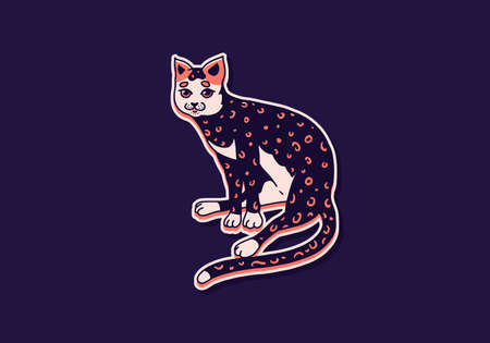 Cute cat. Washing, playing animal. Cute color Domestic kitty. Hand drawn engraved sketch for banner or t-shirt. Monochrome Vector outline vintage doodle style